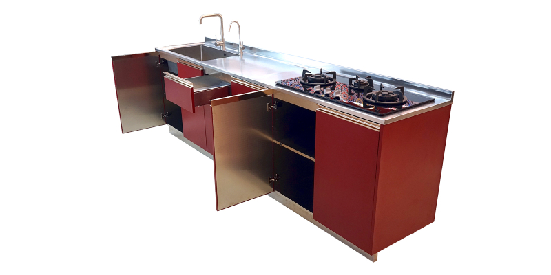 Elegantly designed kitchen cabinet with glass topped stove and sink attached to it.